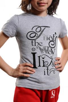 Tricou gri cu imprimeu text negru