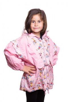 Jacheta roz cu gluga si fermoar