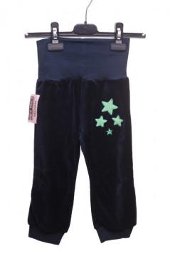 Pantaloni bleumarin de catifea cu stelute verzi
