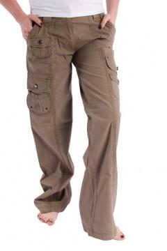 Pantaloni maro cu buzunare