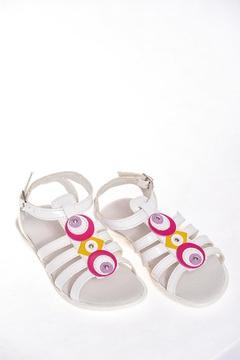 Sandale albe din piele si lac cu detalii decorative