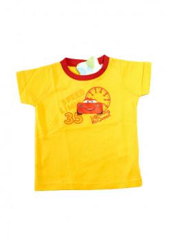 Tricou galben cu imprimeu imagine masina