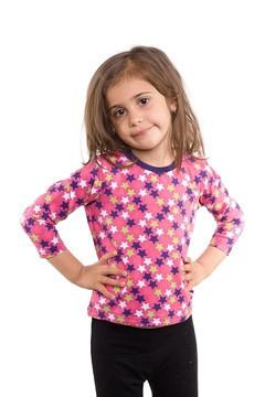 Tricou roz cu imprimeu stelute