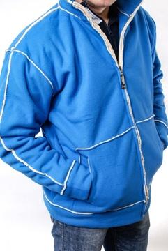 Jacheta albastra cu blanita si fermoar