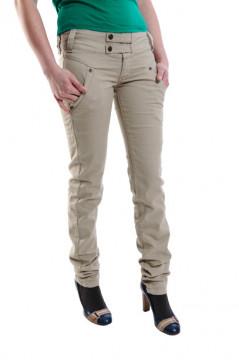 Pantaloni bej cu nasturi