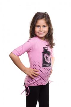 Bluza roz cu imprimeu si aplicatie funda neagra