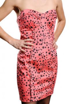 Rochie roz cu imprimeu stelute