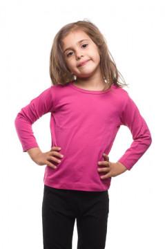 Tricou roz cu maneca lunga