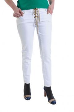Pantaloni albi cu snur