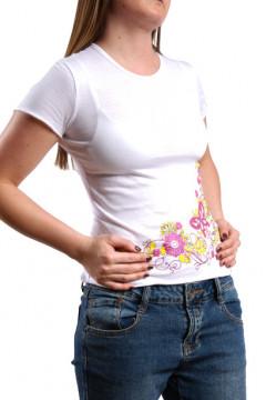 Tricou alb cu imprimeu floral