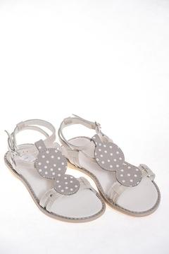 Sandale din piele gri cu buline