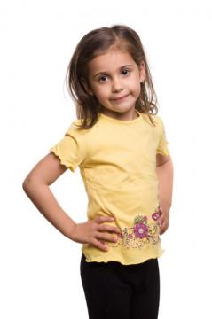 Tricou galben cu imprimeu floral