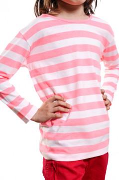 Tricou in dungi roz cu alb