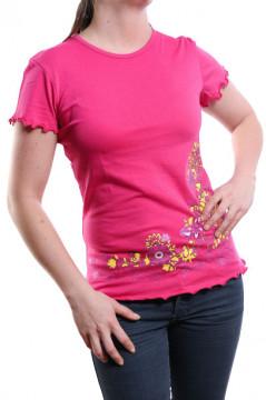 Tricou roz cu imprimeu floral