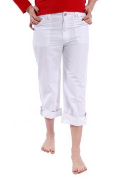 Pantaloni 3/4 albi cu buzunare