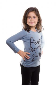 Tricou albastru cu imprimeu text