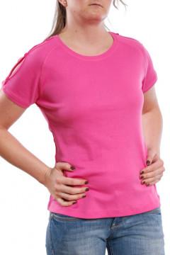 Tricou roz cu nasturi decorativi