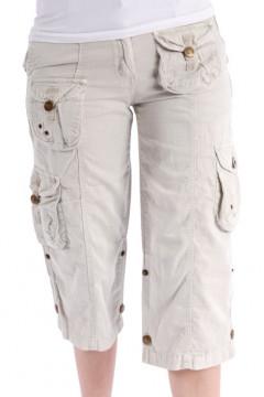Pantaloni 3/4 bej cu buzunare