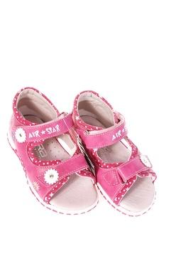 Sandale piele cu flori decorative
