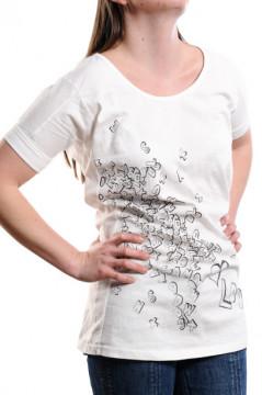 Tricou alb cu imprimeu litere