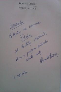 Dumitru Balaet - Topos atopos (cu autograf)