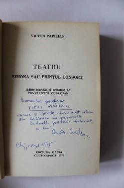 Victor Papilian - Teatru (cu autograful lui Constantin Cublesan)