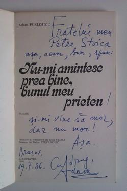 Adam Puslojic - Nu-mi amintesc prea bine, bunul meu prieten (cu dublu autograf)