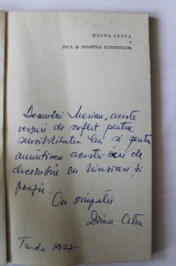Doina Cetea - Ziua si noaptea cuvintelor (cu autograf)