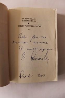 Pr. Ioan Roman, Horia Muntenus - Poezia parintilor nostri (vol. I, cu autograful lui Ioan Roman)