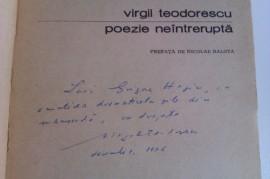 Virgil Teodorescu - Poezie neintrerupta (cu autograf)