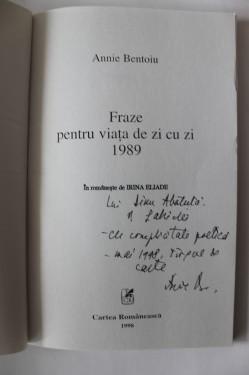Annie Bentoiu - Fraze pentru viata de zi cu zi. 1989 (cu autograf)