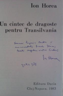 Ion Horea - Un cantec de dragoste pentru Transilvania (cu autograf)