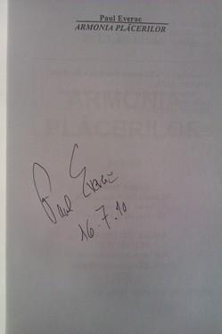 Paul Everac - Armonia placerilor (cu autograf)