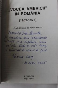 Mircea Carp - Vocea Americii in Romania. 1969-1978 (cu autograf)