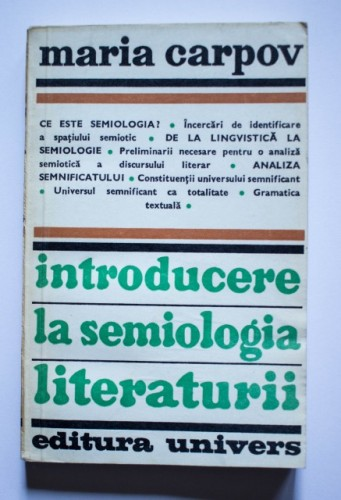 Maria Carpov - Introducere in semiologia literaturii