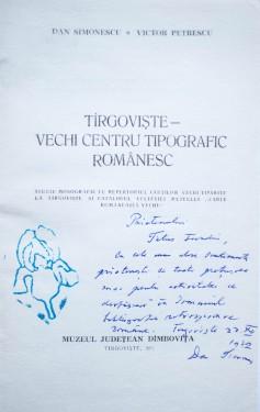 Dan Simonescu, Victor Petrescu - Targovistea - vechi centru tipografic romanesc (cu autograful lui Dan Simonescu)