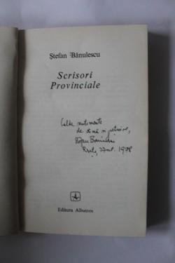 Stefan Banulescu - Scrisori provinciale (cu autograf)