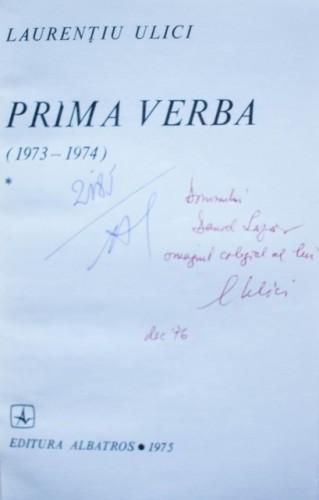 Laurentiu Ulici - Prima verba (vol. I, cu autograf)