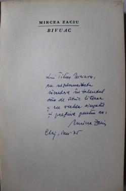 Mircea Zaciu - Bivuac (cu autograf)