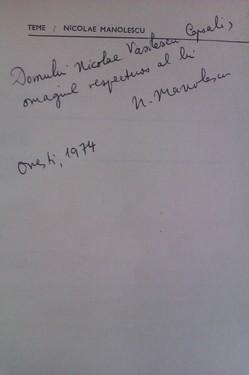 Nicolae Manolescu - Teme (cu autograf)