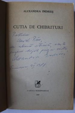 Alexandra Indries - Cutia de chibrituri (cu autograf)
