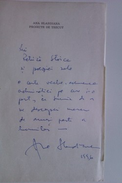 Ana Blandiana - Proiecte de trecut (cu autograf)