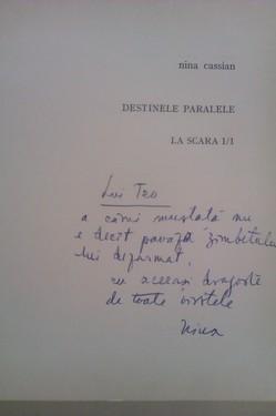Nina Cassian - Destinele paralele. La scara 1/1 (cu autograf)