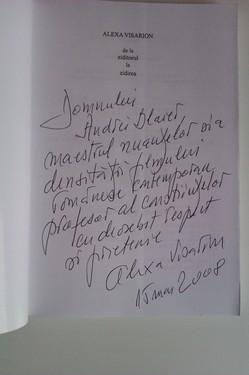 Alexa Visarion - De la Ziditorul la Zidirea (cu autograf)