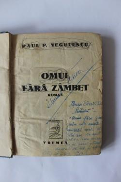 Paul P. Negulescu - Omul fara zambet (volum de debut, cu autograf, editie antebelica)