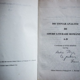 Ion Pop (coord.) - Dictionar analitic de opere literare romanesti (4 vol., cu autograf)
