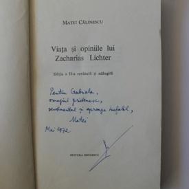 Matei Calinescu - Viata si opiniile lui Zacharias Lichter (cu autograf)