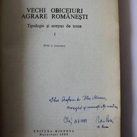 Ion Cuceu, Maria Cuceu - Vechi obiceiuri agrare romanesti (cu dublu autograf)