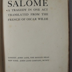 Oscar Wilde - Salome. A Tragedy in One Act (editie hardcover / hardcover edition)