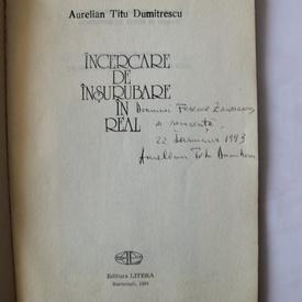 Aurelian Titu Dumitrescu - Incercare de insurubare in real (cu autograf)